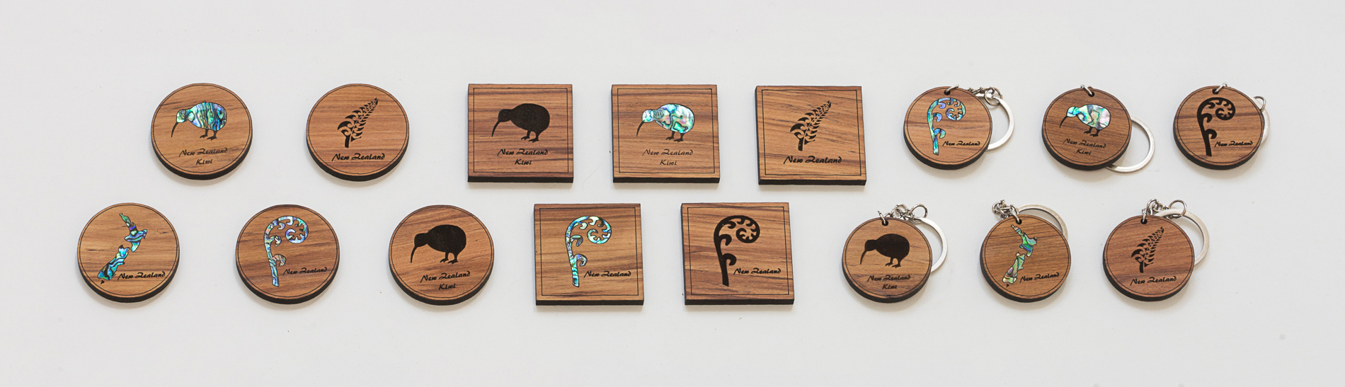 Naturally Wood New Zealand Keyrings and Magnets